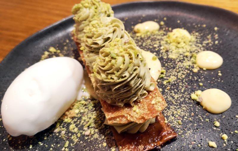 milhojas de pistacho la Tasquería